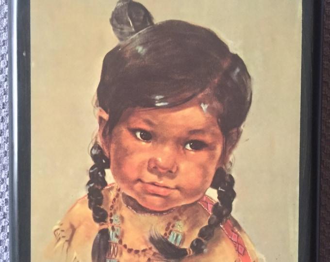Famous Native Girl Portrait on Wood Plaque by Dorothy Oxborough Cute Indian Powwow Tribal arts artist artworks Native Art Southwestern decor