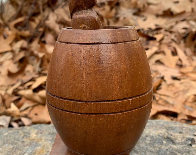 Primitive Gag Gift - Man in a Barrel - Antique Erotica Wooden Toy - Sexy Curiosity Oddity Adult Humor