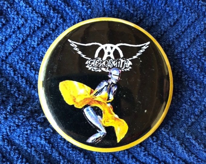 Aerosmith Pin Pinback Pins Just Push Play Joe Perry GNR Axl Rose Motley Crue Steven Tyler Ozzy Osbourne Megadeth Pantera Iron Maiden ACDC