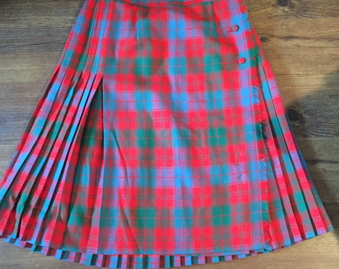 Original 50s Vintage Al Jean of Canada Tartan Skirt Green Blue and Red Scottish Wool Kilt Scotland