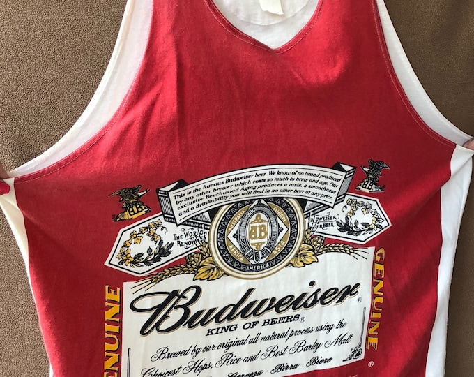 Classic Budweiser Flare Tank Top XL Flowy Tunic beer coors Anheuser Busch high life pbr labatts keg party Beer pong Clydesdales  brewery