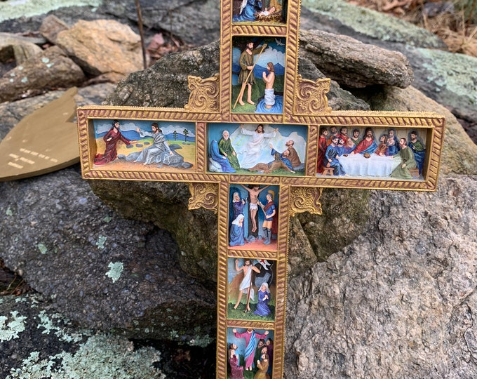 1990s Life of Jesus Resin Crucifix Religious Religion Christian Catholic Christ Lord Bible Stories