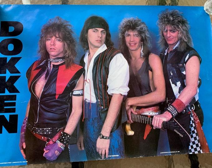 Vintage 1986 Dokken Poster Don Dokken George Lynch 80s Metal Motley Crue Whitesnake Ratt Guns N Roses Judas Priest Iron Maiden Warrant Kix