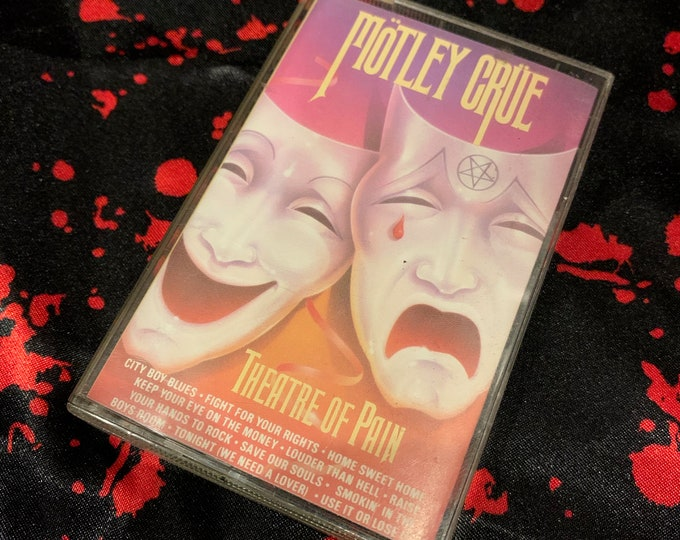 Vintage Motley Crue Theatre Of Pain Cassette Tape Nikki Sixx Mick Mars Vince Neil Tommy Lee The Dirt Dr Feelgood Shout At The Devil Glam