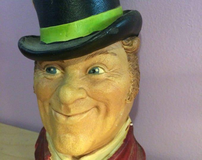 BOSSON-Like Chalkware Head gentleman top hat formalwear dapper GQ Art Artist artwork sculpture