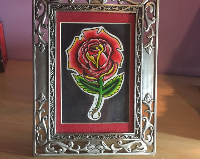 Rose Tattoo Flash watercolor art painting framed roses flowers artworks Red Rose arts Art By Kev G framed flowers floral home decor artwork