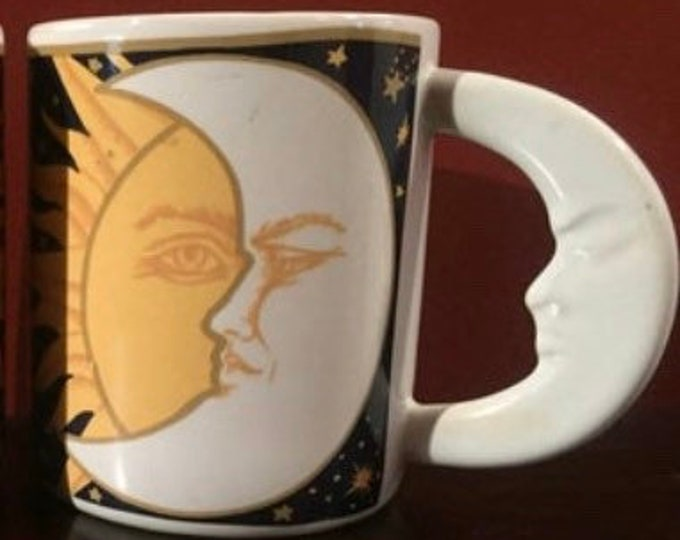 Celestial Blue and Gold Moon and Sun VitroMaster Coffee Mug - Galaxy - 1993 - Moon and Stars - Moon Worship - Moon Face - Man in the Moon
