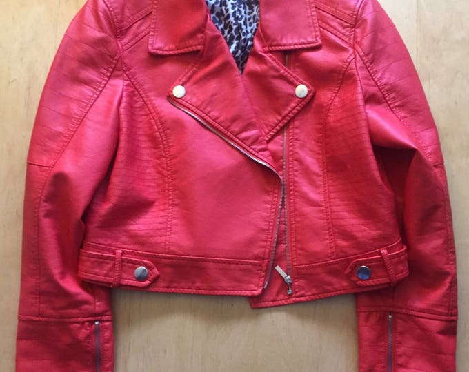 Sexy Ladies Red Faux Leather Punk Motorcycle Jacket Pinup Rockabilly Bettie Page Glam Biker punk Metal punks not dead metalhead