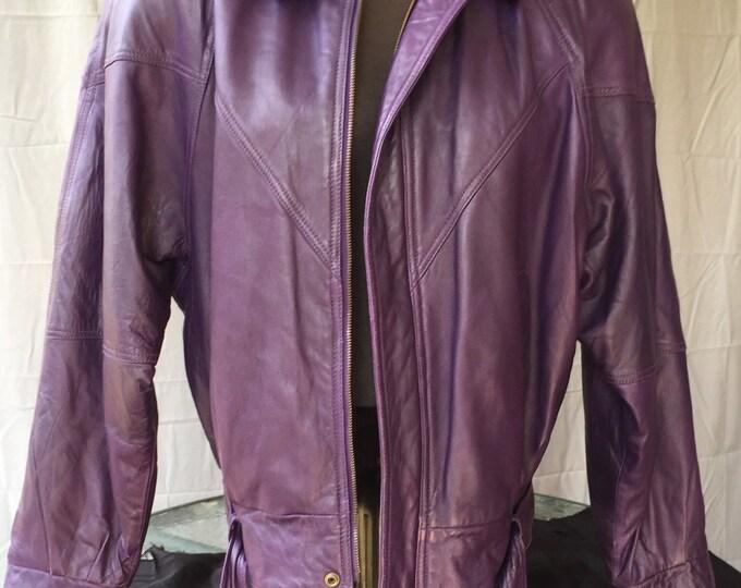 Ladies Vintage 80s Purple Genuine Leather Jacket Sz Large - Prince Purple Rain punk punkrock hippie hippys metalhead biker motorcycles bike