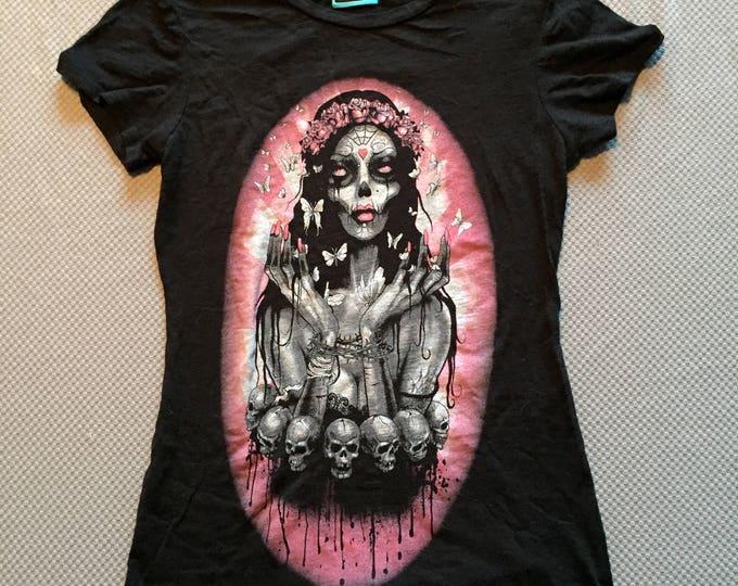 Day of the Dead tshirt (Ladies Small) Muerte sugar skull goth gothic gothgirl skull skulls punk metal death horror cemetery mexican mexico