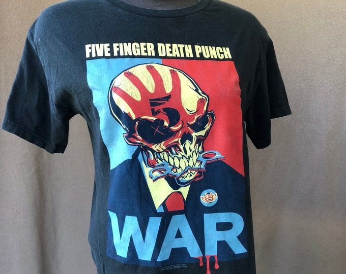 Five Finger Death Punch Band Shirt (Med) War Skull Heavy metal Band Tee Thrash Metal Avenged Sevenfold Disturbed Metallica Godsmack FFDP
