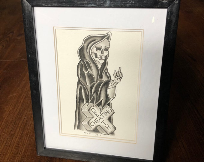 Grim Reaper Cheating Death watercolor Art Painting by Art By Kev G framed Tattooflash Artworks Artwork Artist Skull skulls middle finger