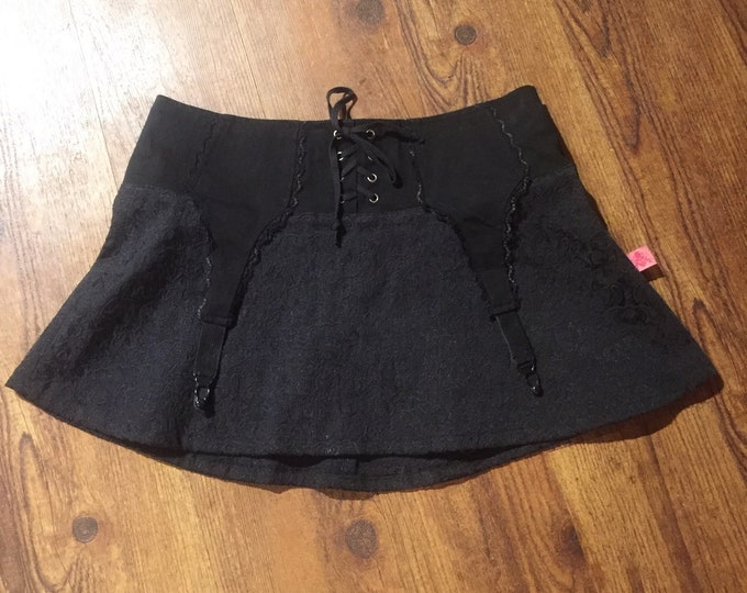 Tripp Brocade Garter Micro Mini Skirt Goth Punk Fashion gothgirl gothic - Gothgirl - Alternative Model Lingerie Style