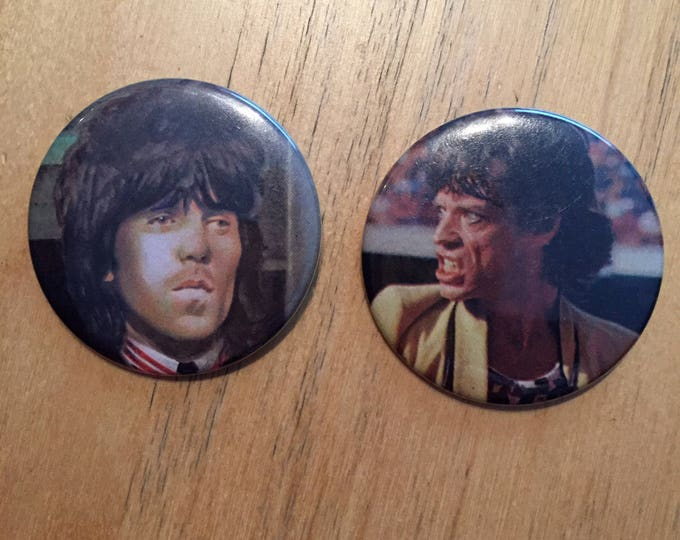 Mick Jagger Keith Richards  Pins  Badge Rolling Stones glimmer twins gimme shelter voodoo lounge ron wood bill wyman charlie watts UK Stones