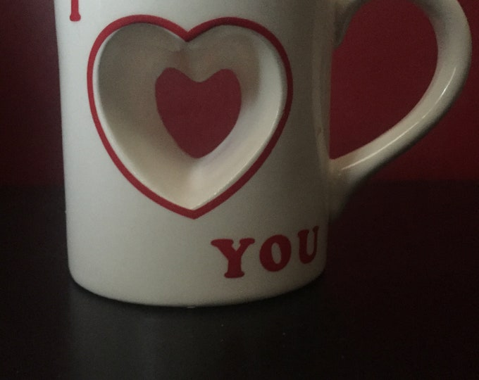 Vintage GiftCraft I Love You Mug - Heart Cut Out - ILY - Valentine's Day true Love Wedding Lover coffee coffee mug tea hot chocolate java