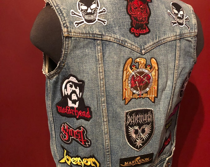 Patched Denim Vest Battlevest Heavy Metal VENOM Black Sabbath Mastodon Megadeth Baphomet Lemmy Motorhead Behemoth METALLICA Ghost BC Occult
