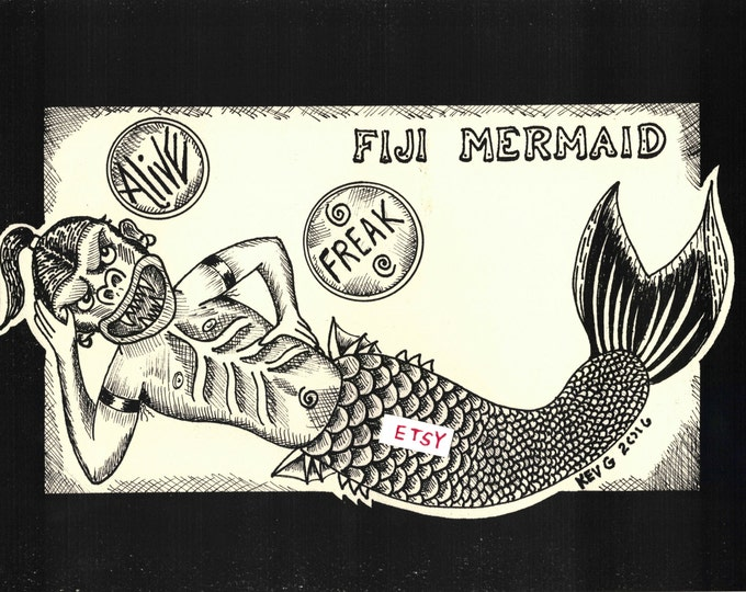 Fiji Mermaid Freakshow Art Print by ArtByKevG Freaks sideshow coney island venice beach pt barnum fire eater sword swallower tod browning