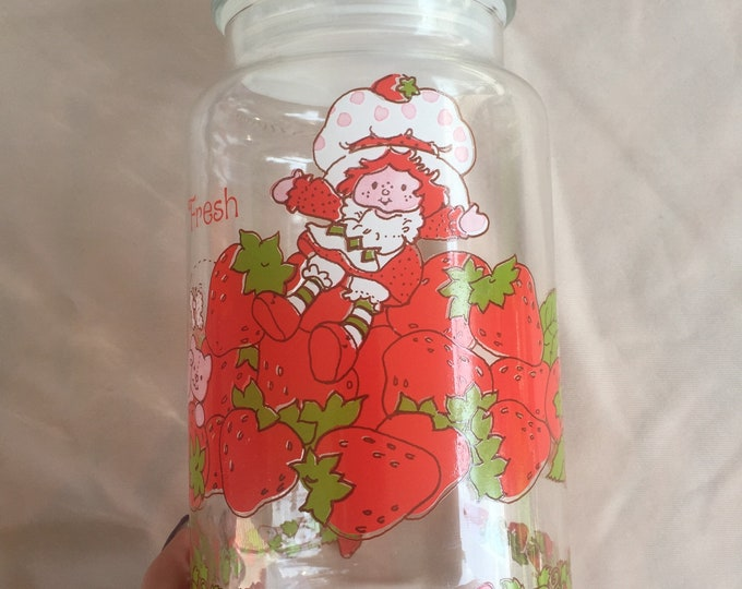 80s Strawberry Shortcake and Custard Glass Canister Jar American Greetings Corp Candy Jar