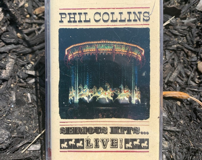Vintage 1990 Phil Collins  Serious Hits Live Cassette Tape Genesis King Crimson Foreigner Peter Gabriel Jethro Tull Steve Howe Yes Geddy Lee