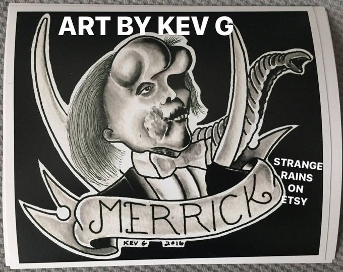 Elephant Man Joseph Merrick Art Print on Fuji photography paper Oddities Art By Kev G David Lynch Freaks Freakshow Horror Science Sideshow