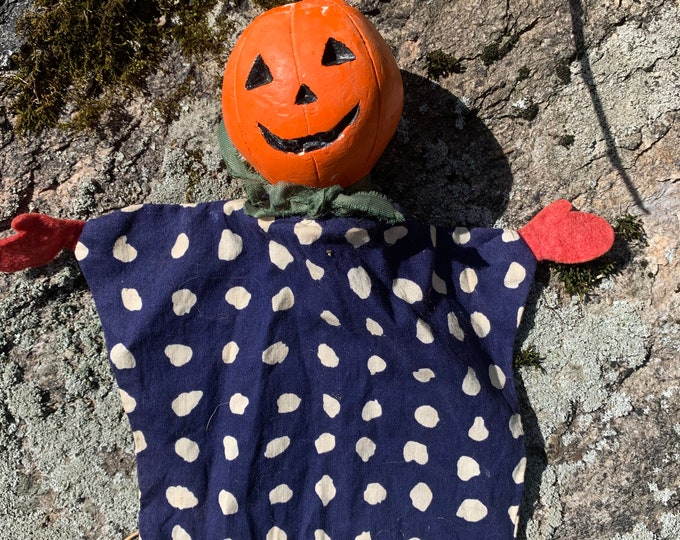 1930s Jack O Lantern Hand Puppet - Plaster / Chalkware Antique Toy Pumpkin Halloween Spooky Trick or Treat Puppeteer Shari Lewis Lamb Chop