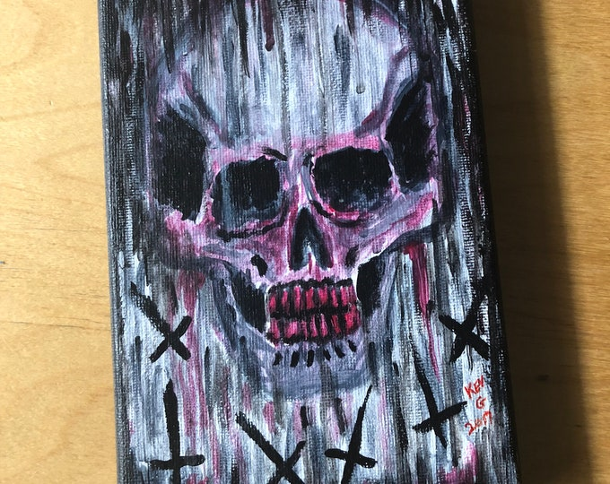 Acrylic Art Painting by Art By Kev G with Display Easel Tattooflash Artworks Artwork Artist Skull Skulls Inverted Cross Gore Macabre DarkArt