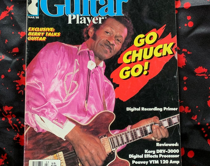 Vintage 1988 Guitar Player Magazine Chuck Berry Steve Vai George Thorogood Eddie Van Halen Tony Levin Ibanez Guitars Rudy Sarzo Ry Cooder