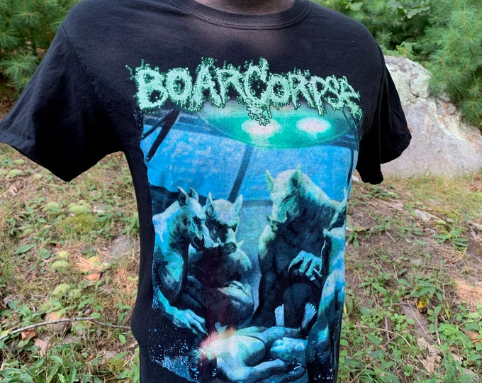 BoarCorpse Uncured Band Shirt Death Metal Boston Worcester (M) Heavy Metal Kreator Cannibal Corpse Obituary Celtic Frost Candlemass Sodom