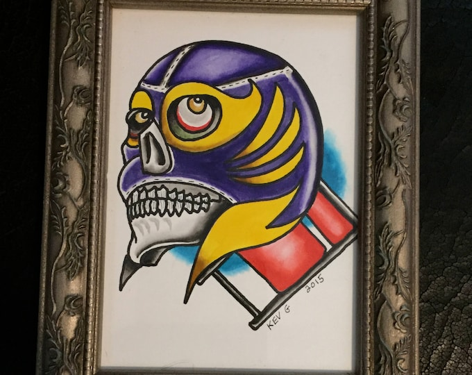 folding chair Lucha LuchaLibre watercolor art painting framed Luchidor Rey Mysterio Kalisto WWE Nxt wrestling Art By Kev G Artwork Artworks