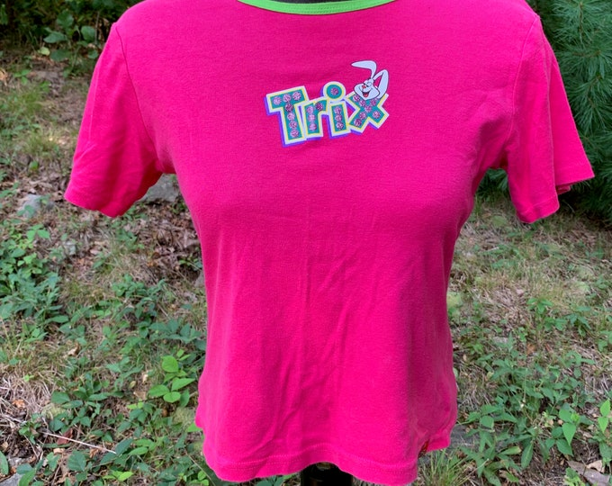 TRIX General Mills Breakfast Cereal TShirt (Ladies XL) Rabbit Bunny Lucky Charms Boo Berry Capn Crunch Frosted Flakes Rice Krispies Quisp