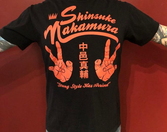 Shinsuke Nakamura WWE Wrestling shirt (L) Monday Night Raw John Cena Seth Rollins TripleH AJ Styles Brock Lesnar NXT Stone Cold Steve Austin