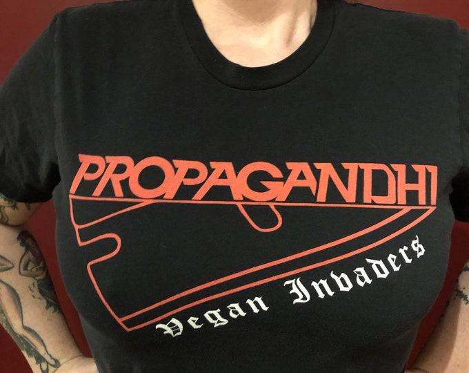 Punk Rock Propagandhi Vegan (Small) Tour Shirt Punk Fat Mike SkatePunk Hardcore Youth Brigade DOA Dayglo Abortions SNFU Oi NOFX Descendents