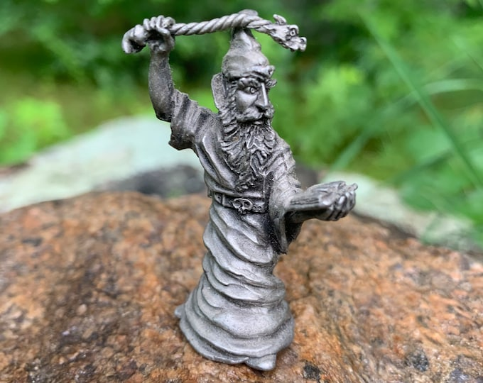Vintage Wizard Holding Staff Pewter Figurine Fantasy Cosplay Barbarians Vikings Conan the Barbarian Dungeons and Dragons Magic Oracle