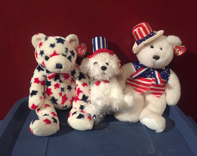 All American Trio   Beanie Buddies  Beanie Babies  TY USA Patriotic Fourth of July Independence Day Murica Uncle Sam Collectibles Cute