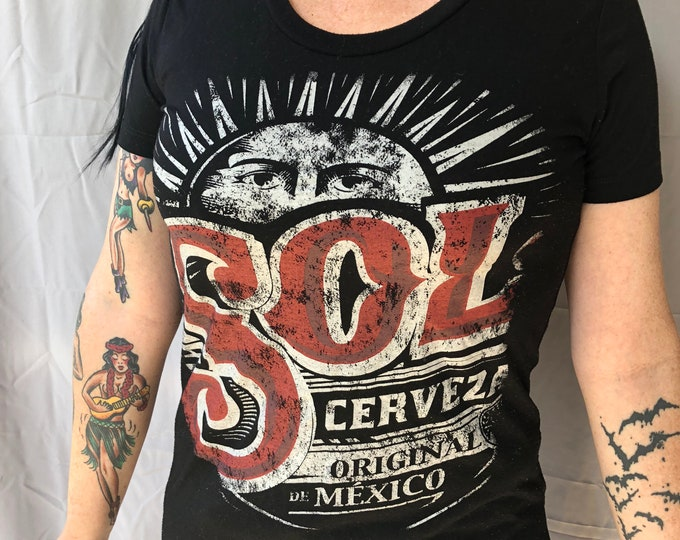 SOL Beer shirt (Ladies M) Ale Brew Pub Mexican Bud Lite Brewer Brewing Brewery PartyTime Busch beer Cerveza Heineken Tecate Dos Equis Modelo