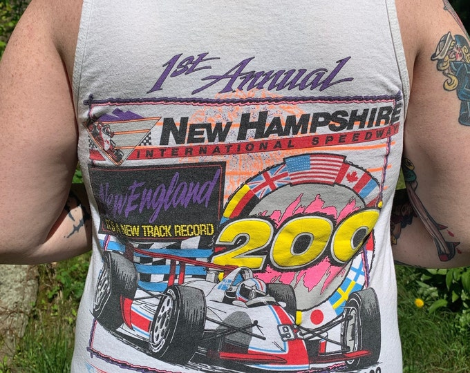 Vintage 1992 New Hampshire International Speedway Tank Top Shirt Racing Indy PPG Grand Prix NH Merrimack County Loudon Motorsports NASCAR