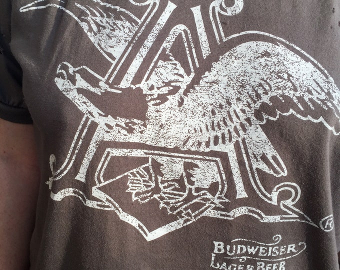 Distressed Budweiser Beer shirt (Large)  Ale Brew Pub Anheuser Busch Bud Lite Eagle Brewer Brewing Brewery PartyTime Busch beer beerpong