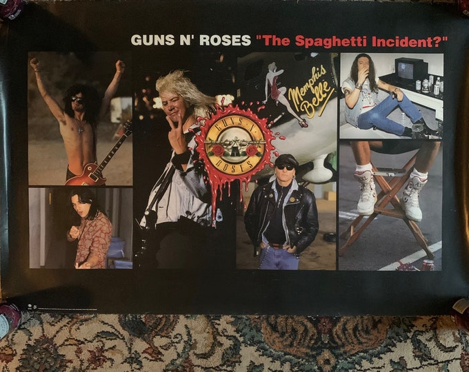 Vintage 1993 Guns N Roses GNR Promotional Poster Dokken Motley Crue Aerosmith Judas Priest Iron Maiden Axl Rose Slash Duff McKagen