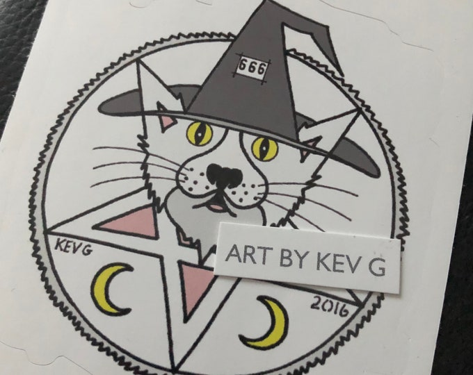Satanic Cat by ArtByKevG Sticker Witch Occult witchcraft gothic gothic Pentagram Tarot Ouija Witch Witchy Horror Devil Stickers Kittie Cats