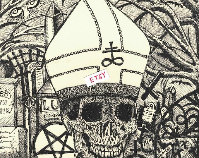 Ghost Gothic Art Print Gothic Goth by @ArtByKevG Pope Pentagram Occult Satanist Satanic Tarot Horror Halloween Skull Skulls Leviathan Cross
