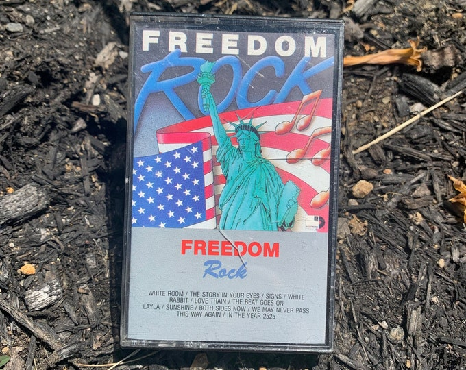 Vintage 1987 FREEDOM ROCK Cassette Tape As Seen on TV K Tel  Cream White Room Jefferson Airplane White Rabbit Seals & Crofts Moody Blues