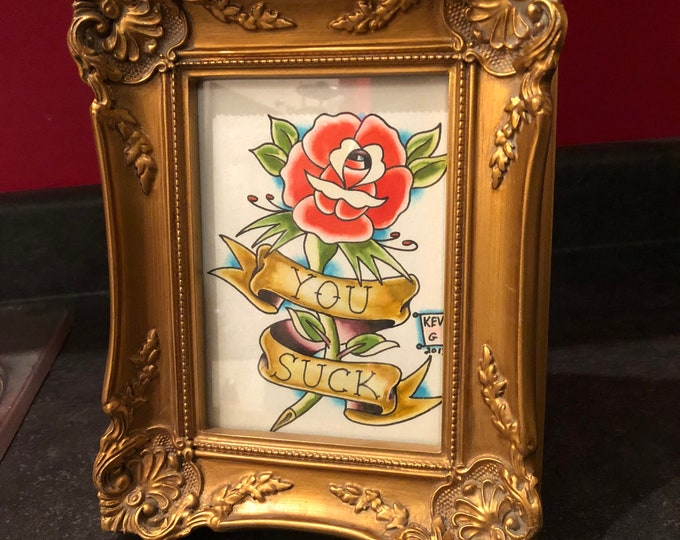 Rose Tattoo Flash watercolor art painting framed roses flowers Tattoo Art Art BY Kev G artist artwork arts floral flowers paintings red rose