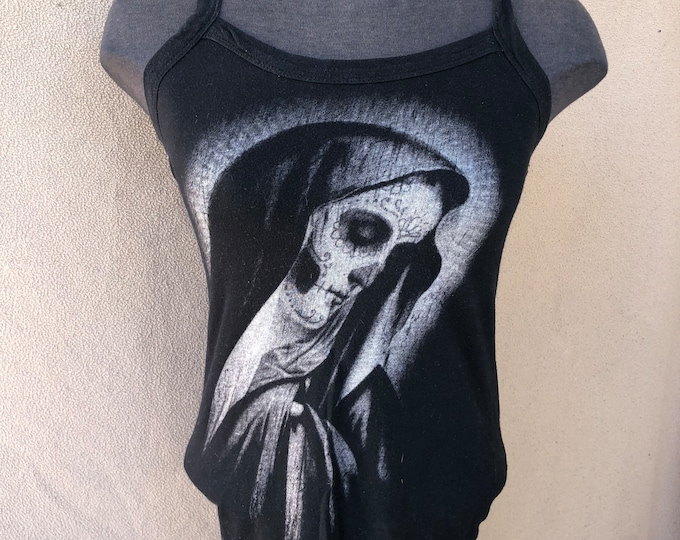 Memento Mori - Day of the Dead - Rock Steady - Ladies Tank - Sz Medium Nun mother Mary Sugar Skull Muerte Mexican Culture Mexico Lucha cute