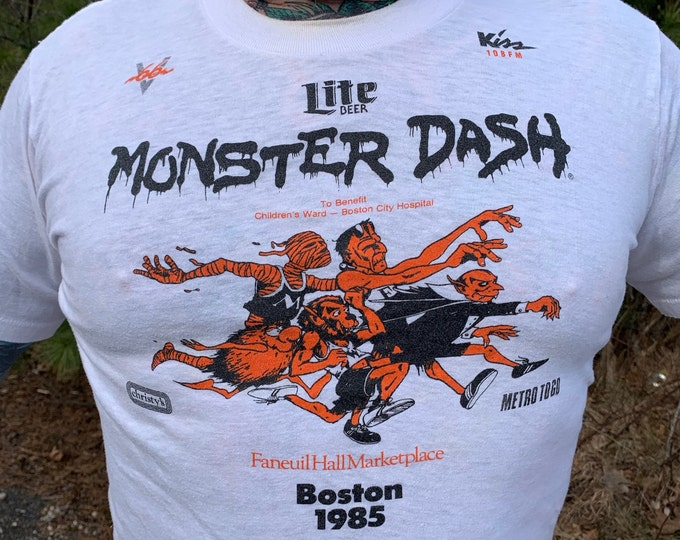 Vintage 1985 Lite Beer Monster Dash to Benefit the Children's Ward at Boston Hospital T Shirt (L) Road Race Boston Marathon Massachusetts