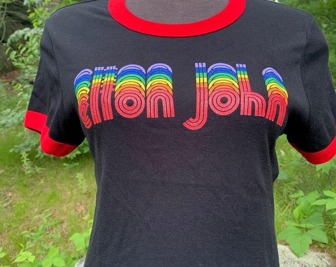 Elton John Band shirt (Ladies M) Rocket Man Bernie Taupin Captain Fantastic David Bowie George Michael Queen Freddie Mercury Rainbow Retro
