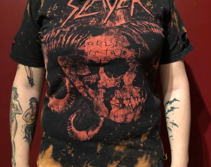 Distressed Slayer Band Shirt (M) Darkness of Christ Speed Metal Thrash Metal tshirt Tom Araya Kerry King Jeff Hanneman Dave Lombardo Pantera
