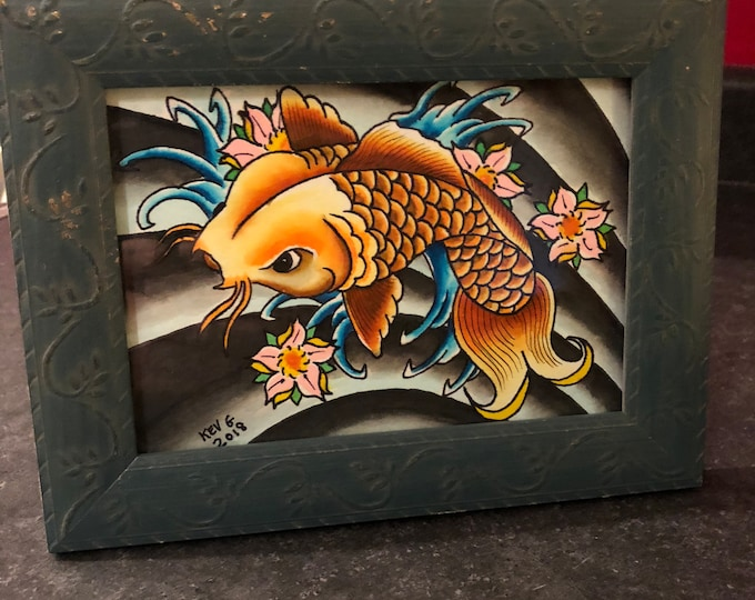 Koi Fish Tattoo Flash watercolor Art Painting framed Tattoo Art Artist Art BY Kev G artist artwork arts paintings Japan Japanese Art Waves