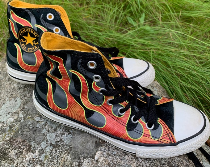Rare Retro Flaming Converse Chuck Taylors - Sz 2 Youth Kids Clothes Kidstuff Punk Punkrock Punk Kid Childrens Clothes Rocknroll Black Flag