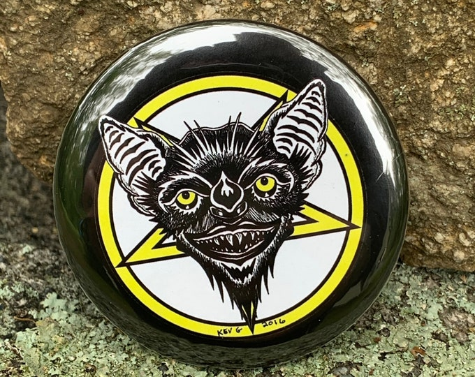 Bat by Art By Kev G Pin Badge Bats Vampire Satan Satanic Devil Baphomet Occult Witchcraft Gothic Gothic Pentagram Tarot Ouija Witch Witchy