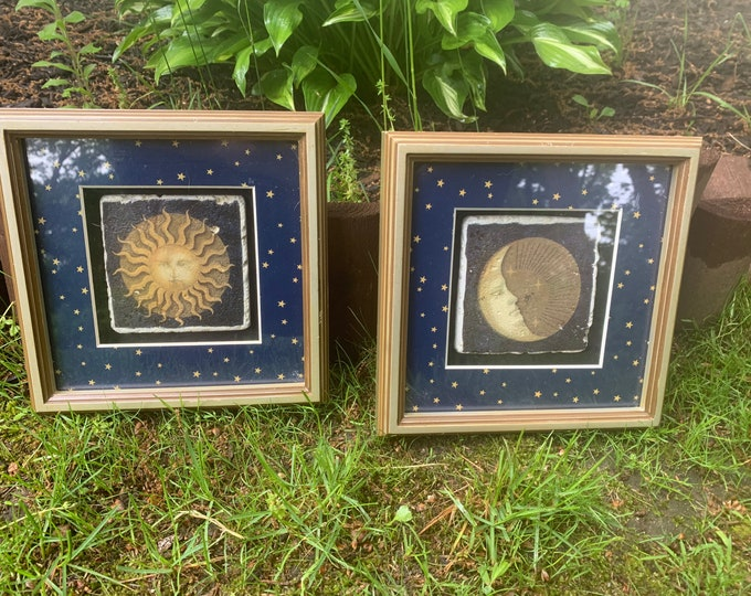 8x8 Celestial Shadow Boxes Set of 2 Sun and Moon - Galaxy - Moon and Stars - Moon Worship - Moon Face - Man in the Moon